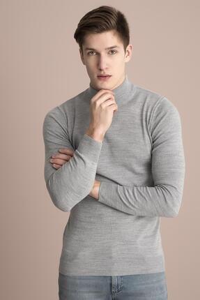 Tena Moda Erkek Gri Melanj Yarım Balıkçı Kırçıllı Triko Kazak 1