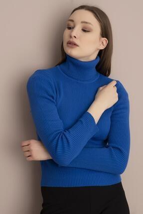 Tena Moda Kadın Saks Balıkçı Yaka Fitilli Triko Kazak 1