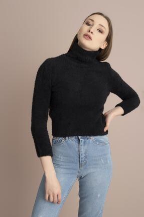 Tena Moda Kadın Siyah Balıkçı Yaka Sakallı Yumoş Triko Kazak 0
