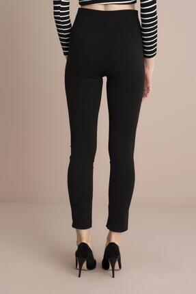 Tena Moda Kadın Siyah Yüksek Bel Paça Yırtmaçlı Pantolon 3