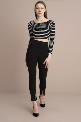 Tena Moda Kadın Siyah Yüksek Bel Paça Yırtmaçlı Pantolon 4
