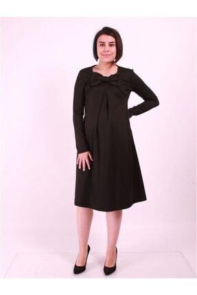 Hamile Büyük Fiyonklu Uzun Kol Elbise 12KLVELB016