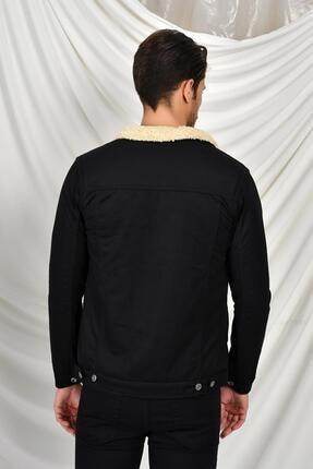 Tena Moda Erkek Siyah Kadife Kürklü Mont 3