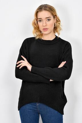 Tena Moda Kadın Siyah Sıfır Yaka Triko Kazak 0