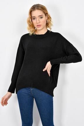 Tena Moda Kadın Siyah Sıfır Yaka Triko Kazak 1