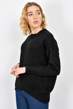Tena Moda Kadın Siyah Sıfır Yaka Triko Kazak 4