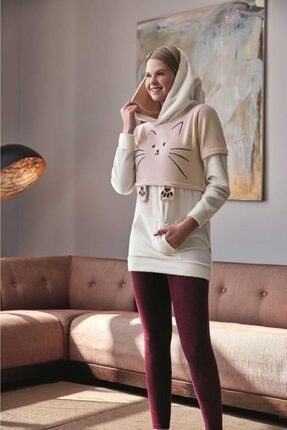 Anıl 9545 Kadın Pijamapolar Kedili Kapüşonlu Üst Tayt 2'li Tk 2