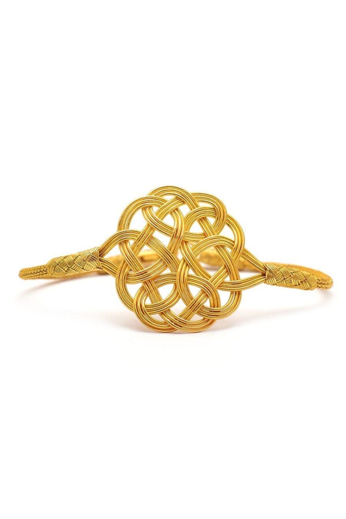 Aşk Düğümü Kazaziye Altın Yaldızlı Gümüş Bileklik 150