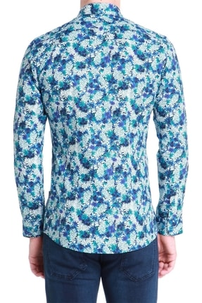 Efor G 1388 Slim Fit Mavi-beyaz Spor Gömlek 2