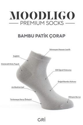 Moodligo Premium 6'lı Bambu Patik Erkek Çorap 2 Füme 2 Gri 2 Beyaz 2