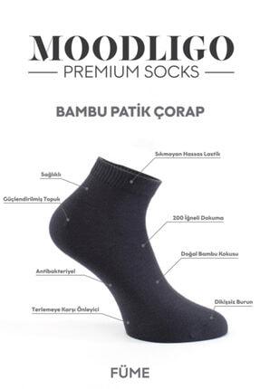 Moodligo Premium 6'lı Bambu Patik Erkek Çorap 2 Füme 2 Gri 2 Beyaz 3