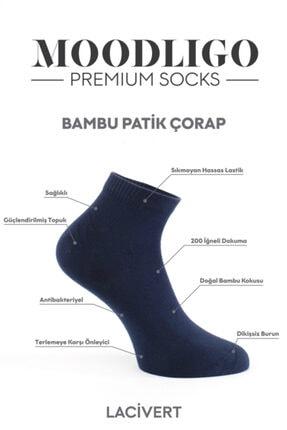 Moodligo Premium 6'lı Bambu Patik Erkek Çorap 2 Füme 2 Lacivert 2 Gri 4