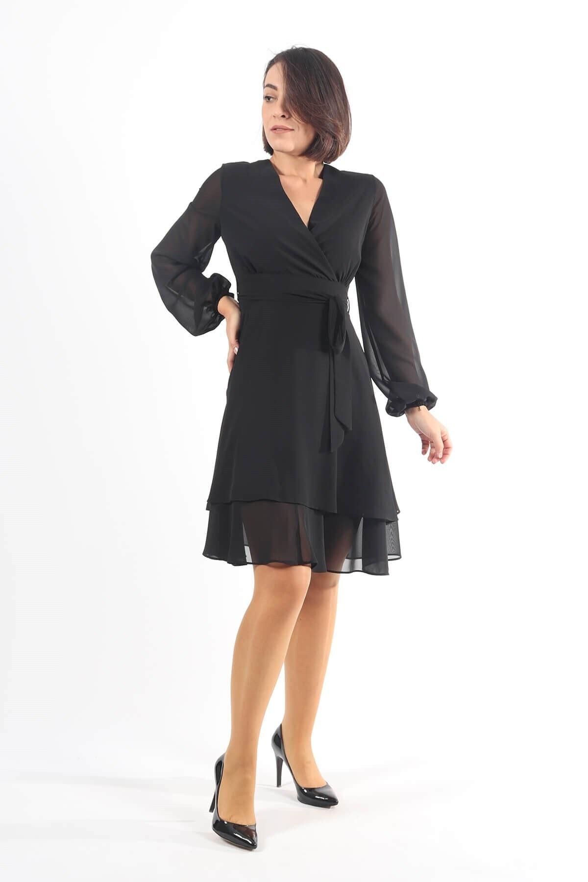 FAZZA FABRİKA Siyah Şifon Kruvze Elbise