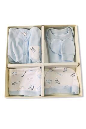 Pierre Cardin Erkek Bebek Mavi Hastane Çıkışı 5 Li Yazı Baskılı 1