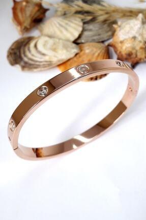 Bin1Gecem Takı Kadın Zirkon Taşlı Paslanmaz Çelik Cartier Bileklik Bilezik 18 Cm 3