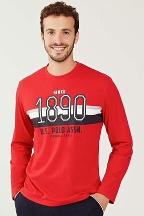US Polo Assn Erkek Kırmızı Yuvarlak Yaka Pijama Takım 18245 0