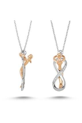 PİGADO Kadın Sonsuz Aşk İle Birbirine Sarılan Çift Sonsuzluk Gümüş Kolye PGD0000010453 0