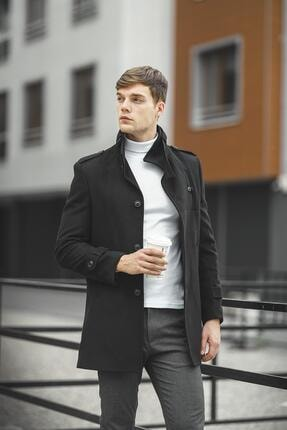 Oksit Tuci Payson Dik Yaka Cep Detaylı Kaşe Palto 0