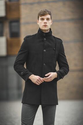Oksit Tuci Payson Dik Yaka Cep Detaylı Kaşe Palto 3