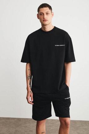GRIMELANGE COLOMBIA Erkek Siyah Renk Şort T-shirt Eşofman Takımı 4