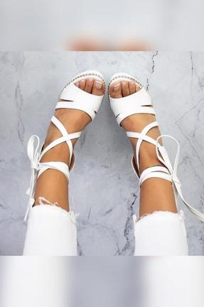Limoya Shreya Beyaz Yüksek Dolgu Topuklu Bilekten Bağlamalı Sandalet 2