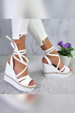 Limoya Shreya Beyaz Yüksek Dolgu Topuklu Bilekten Bağlamalı Sandalet 4