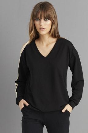 Cool & Sexy Kadın Siyah Kol Detaylı Sweatshirt BK1062 3