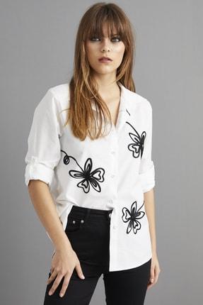 Cool & Sexy Kadın Beyaz Nakışlı Gömlek BP1047 3
