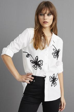 Cool & Sexy Kadın Beyaz Nakışlı Gömlek BP1047 4