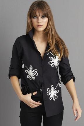 Cool & Sexy Kadın Siyah Nakışlı Gömlek BP1047 0
