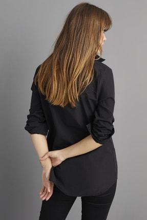 Cool & Sexy Kadın Siyah Nakışlı Gömlek BP1047 3