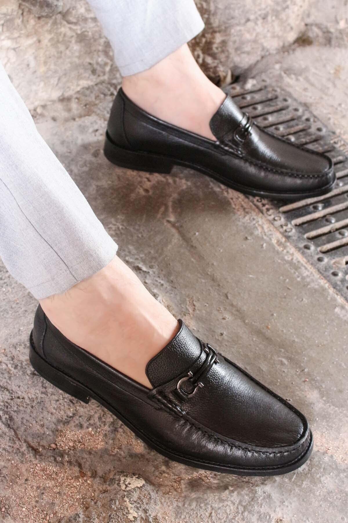 Hakiki Deri Kösele Siyah Erkek Klasik Ayakkabı 932ma67