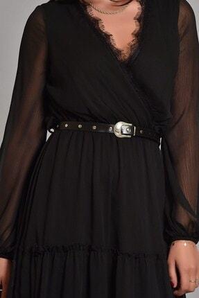 Modakapimda Siyah Etek Ucu Tül Kemerli Büyük Beden Şifon Elbise 3