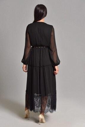 Modakapimda Siyah Etek Ucu Tül Kemerli Büyük Beden Şifon Elbise 4