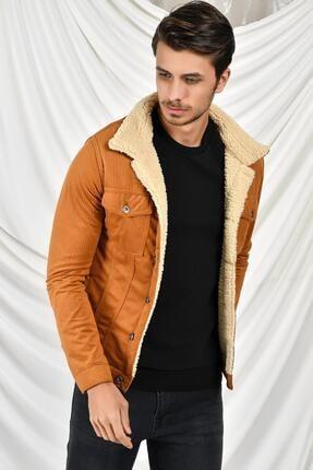 Tena Moda Erkek Açık Taba Kadife Kürklü Mont 2