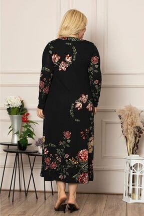 1fazlası Kadın Siyah Çiçek Desen Uzun Esnek Krep Elbise 3