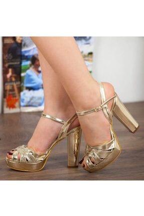 Adım Adım Altın Rugan Yüksek Topuk Bilekten Bağlama Abiye Gelin Kadın Ayakkabı • A182ymon00010 0