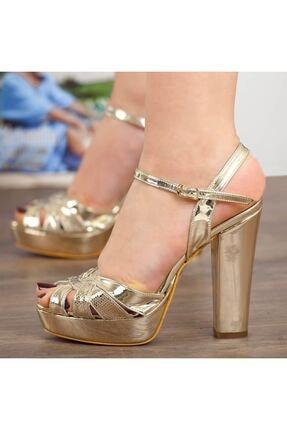 Adım Adım Altın Rugan Yüksek Topuk Bilekten Bağlama Abiye Gelin Kadın Ayakkabı • A182ymon00010 4