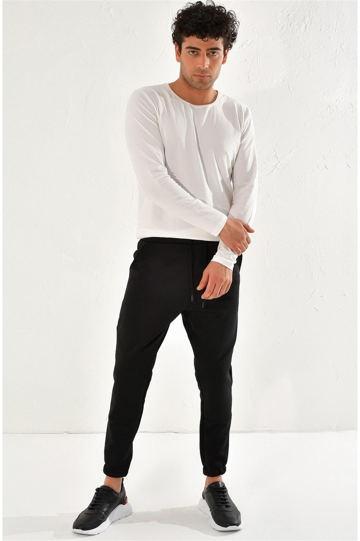 Atp 012 Slim Fit Siyah Spor Pantolon