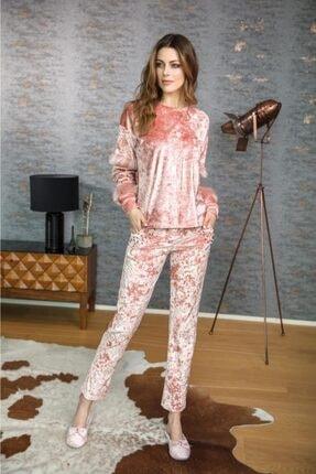 Anıl 9611 Kadın Pijama Kadife Püskül Detaylı Üst Pantolon Tk 3