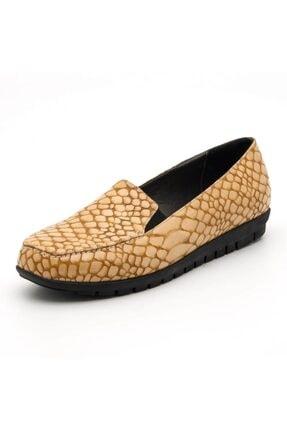 İriadam 200592 Taba Timsah Baski Büyük Numara Bayan Ayakkabı 0