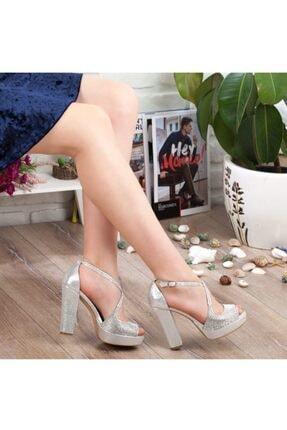 Adım Adım Gümüş Yüksek Topuk Abiye Kadın Ayakkabı • A192ymon0017 0