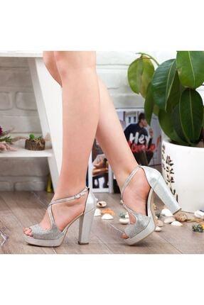 Adım Adım Gümüş Yüksek Topuk Abiye Kadın Ayakkabı • A192ymon0017 1