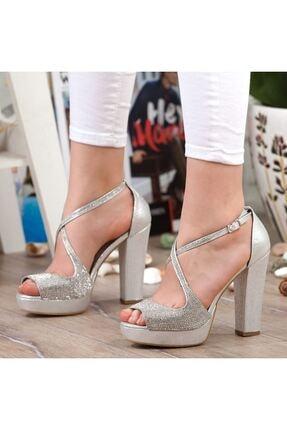 Adım Adım Gümüş Yüksek Topuk Abiye Kadın Ayakkabı • A192ymon0017 4
