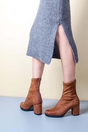 Gökhan Talay Taba Süet Bacağı Saran Topuklu Kadın Bot 0