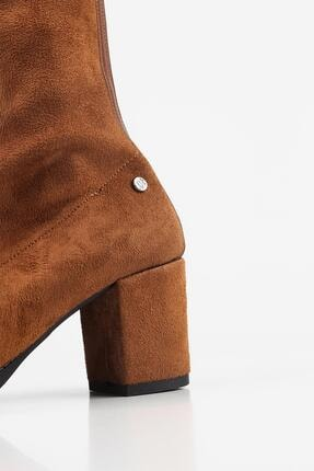 Gökhan Talay Taba Süet Bacağı Saran Topuklu Kadın Bot 4