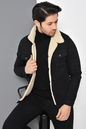 Tena Moda Erkek Siyah Kürklü Kot Mont Ceket 4