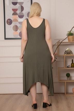 1fazlası Kadın Büyükbeden Genis Askılı Omzu Halka Detaylı Elbise 4