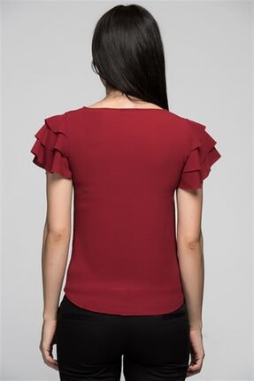 Cotton Mood 7222201 Kobe Fırfırlı Kısa Kol Bluz Bordo 1