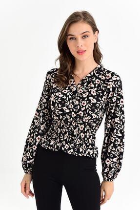 Tena Moda Kadın Siyah-bej Örme Crep Gipeli Bluz 1